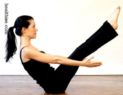 Legs in V Pose yoga exercise