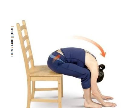 Seated Forward Bend in a Chair yoga pose exercise