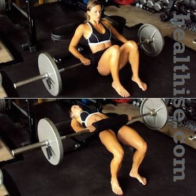 Sexy Buttocks Barbell Hip Thrusts Exercise - Ass fitness - How to Make sexy Butt