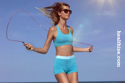 Speed rope skipping - home fitness exercise to burn fat