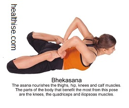 yoga backbend poses - Bhekasana yoga position