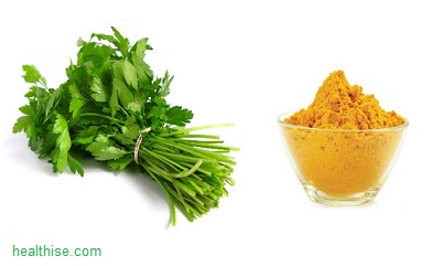 Coriander and turmeric powder for pimples