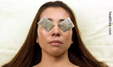Light Circles under Eyes - tea bags over eyelids