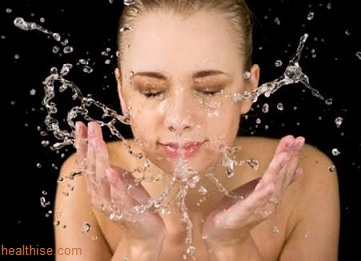 Washing face with clean water - Natural Skin Care and Hypoallergenic