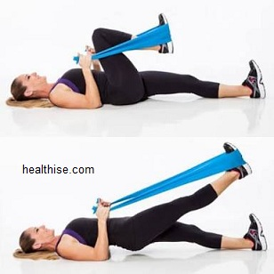 theraband (rubber band) around the thighs - Exercises to Big Buttocks