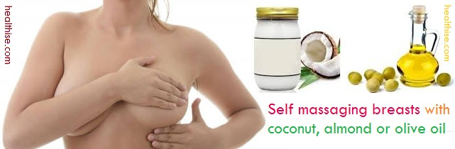self-massage breasts with coconut olive oil for removing cleavage wrinkles