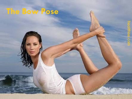 bow pose yoga postures weightloss