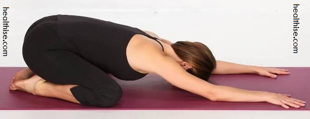 extended child pose treatment of indigestion