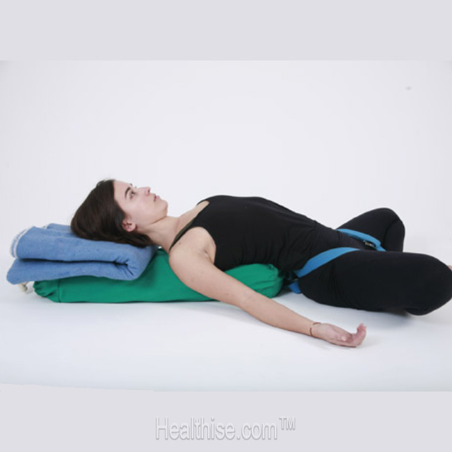 yoga stress Reclined Bound Angle Pose (Supta Baddha Konasana)