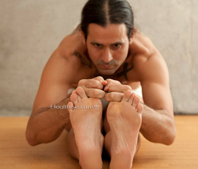 how Paschimottanasana Head to knee pose yoga help men